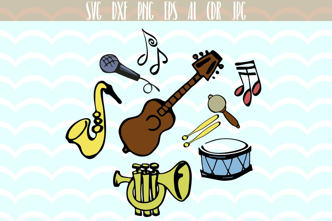 Music musical instruments guitar saxophone notes SVG example image 1