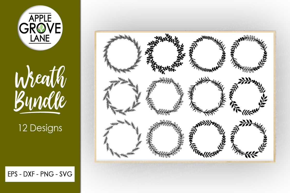 Wreath Svg Bundle - 6 designs included - Svg Cut Files example image 1