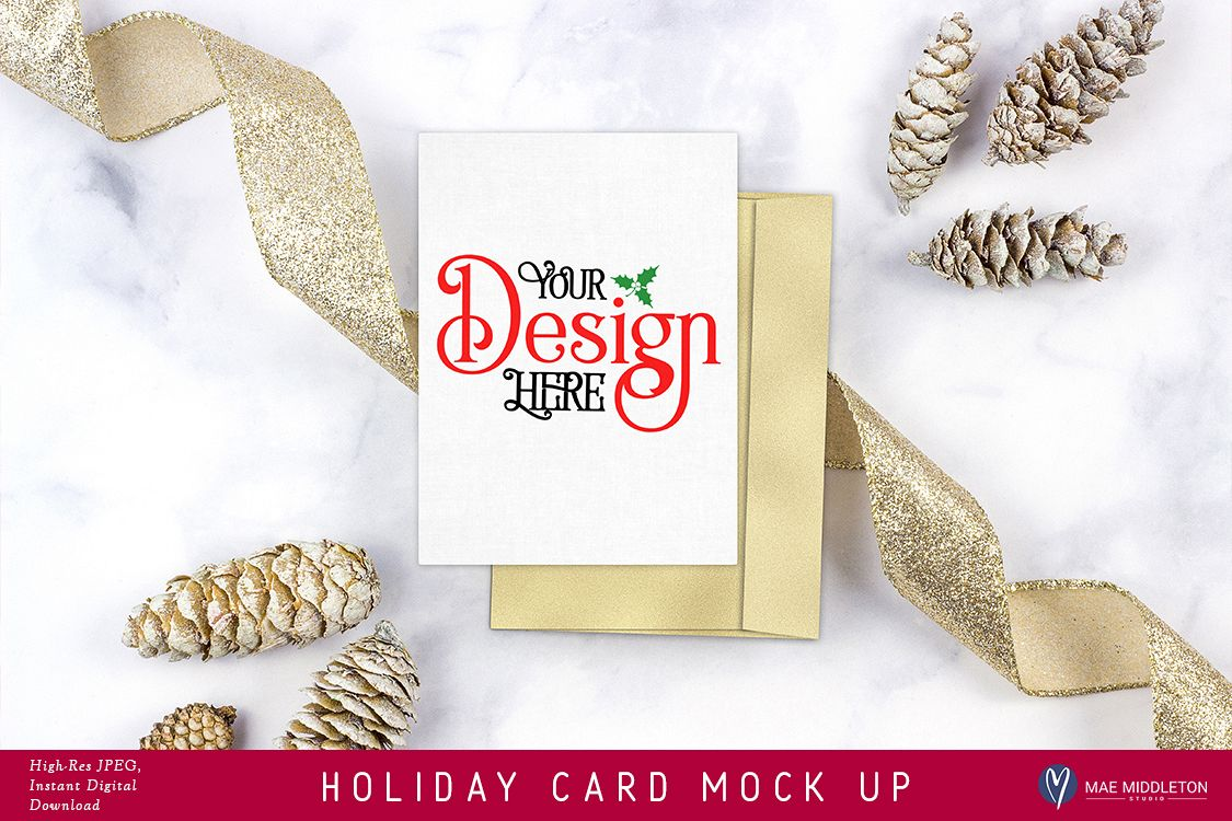 Holiday / Christmas Card / Stationery Mock Up example image 1