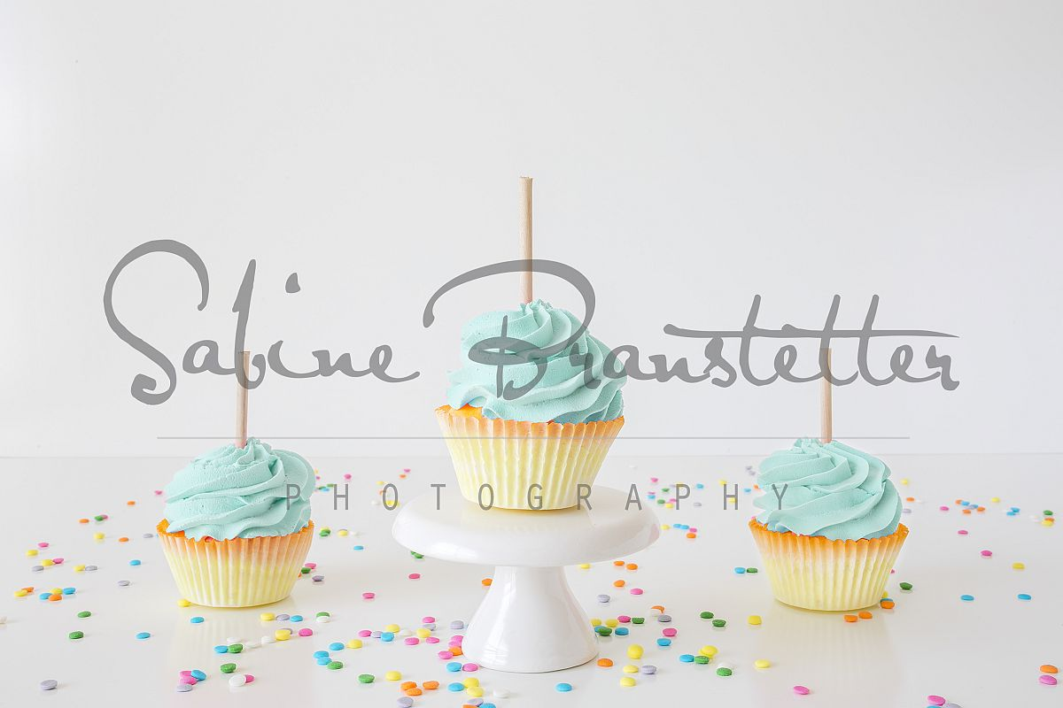 Styled Stock Photography 3 Blue Cupcakes Mockup example image 1