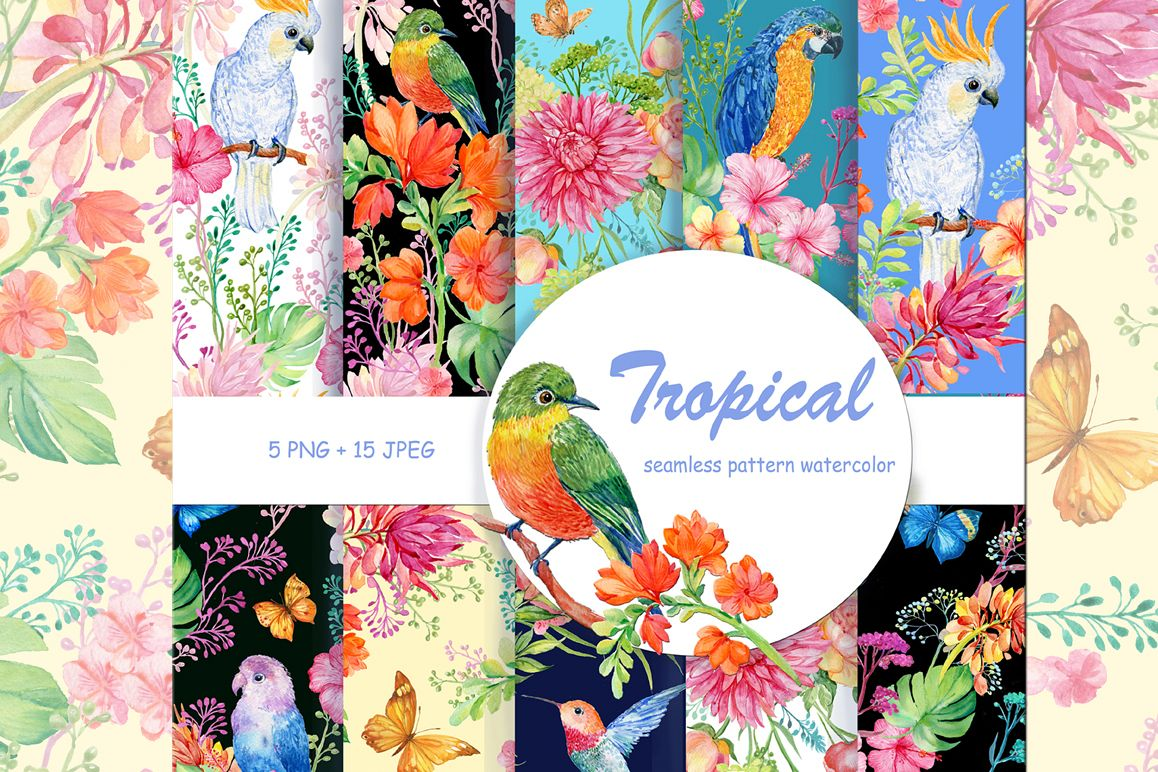 tropical patterns watercolor example image 1