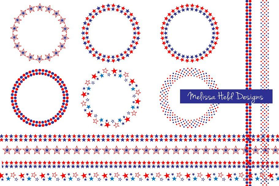 Red White Blue Frames Borders