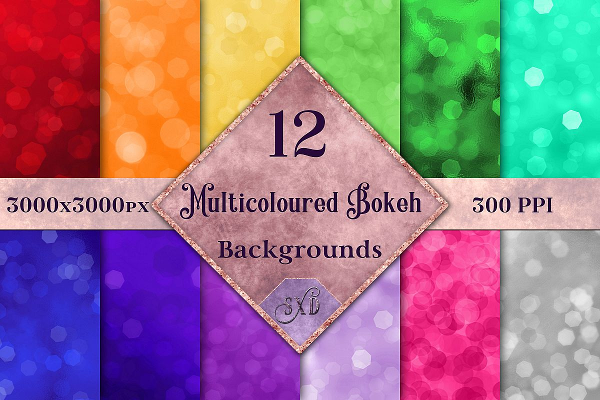 Multicoloured Bokeh Backgrounds - 12 Image Textures Set example image 1