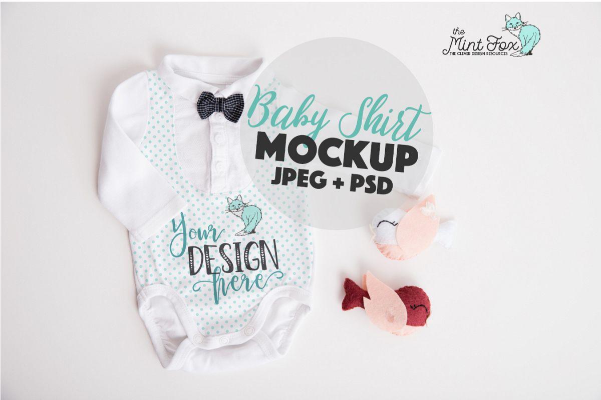 Baby Boy Mockup | New Born Bodysuit Mock Up example image 1