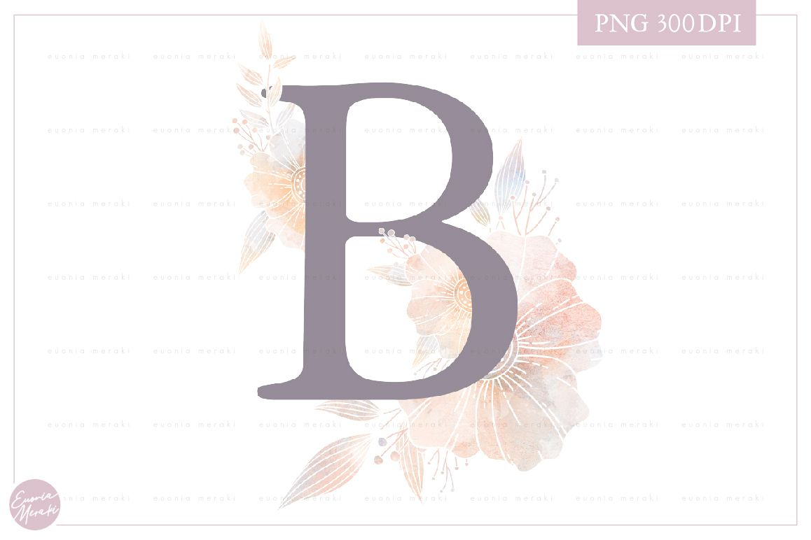 Letter B Floral MONOGRAM - dusty colored flower example image 1