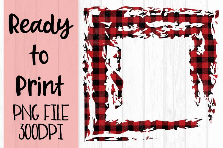 Red Open Buffalo Plaid Frame Ready to Print example image 1