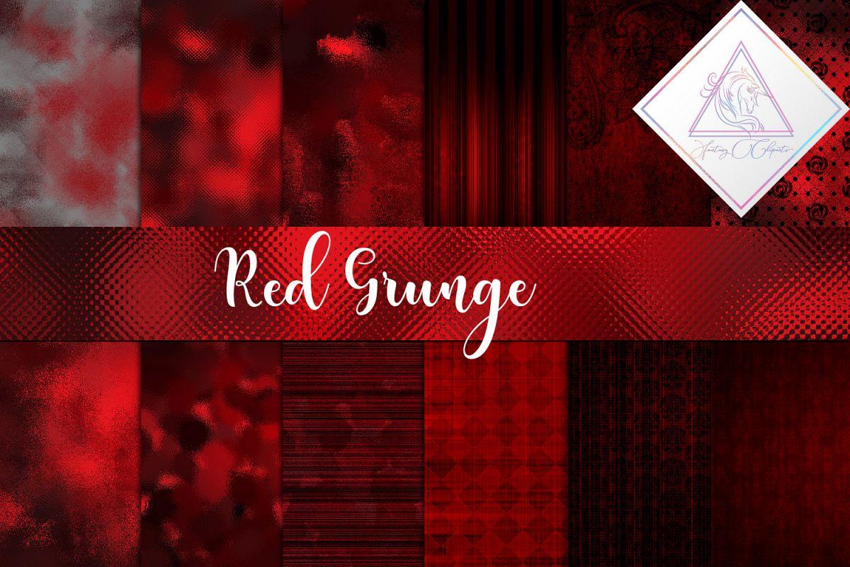 Grunge Red Digital Paper example image 1