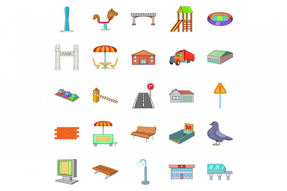 City roads icons set, cartoon style example image 1