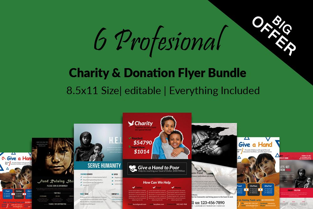 6 Charity & Donation Flyers Bundle example image 1