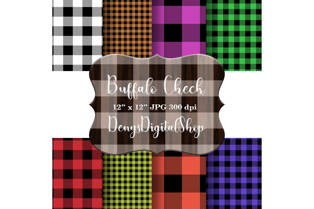 Buffalo Plaid Set, Digital Paper Backgrounds, Rustic, SALE example image 1