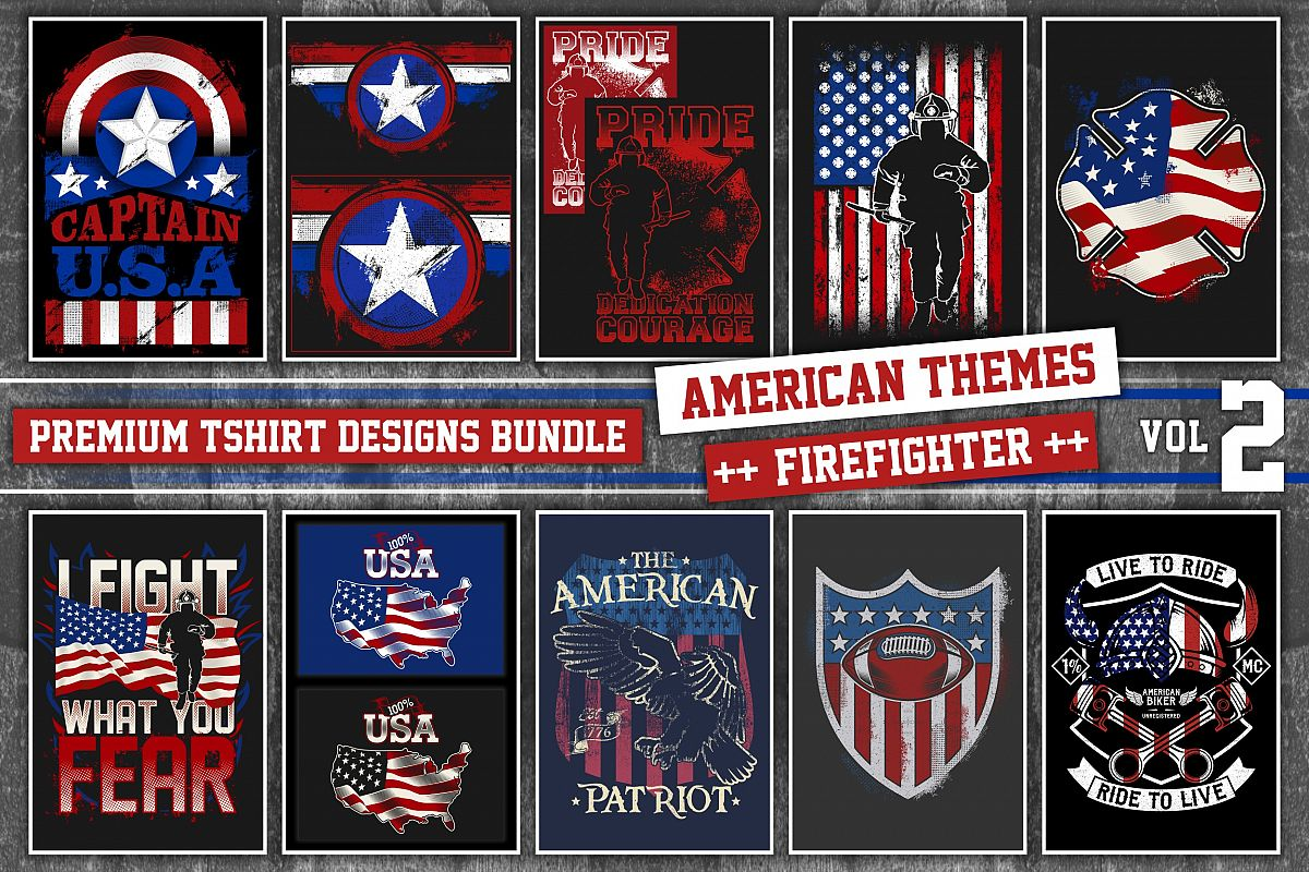 Bundle Premium T Shirt Designs American Firept Vol 2