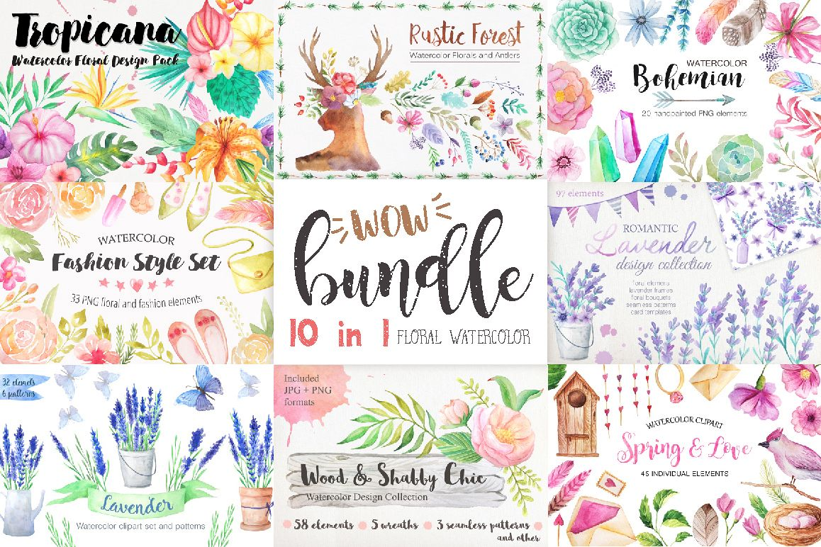Summer Watercolor Floral BUNDLE example image 1
