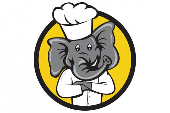 Chef Elephant Arms Crossed Circle Cartoon example image 1
