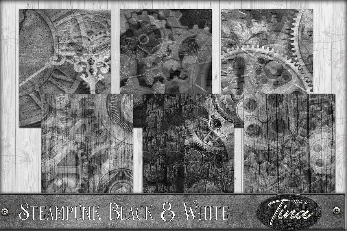 Black and White Grunge Steampunk Gears 091618BW1P example image 1