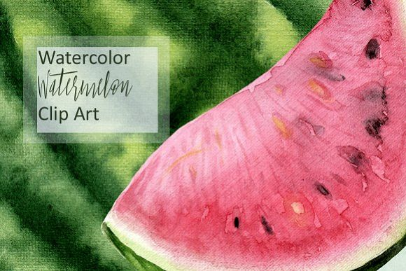 Watercolor Watermelon Clip Art example image 1