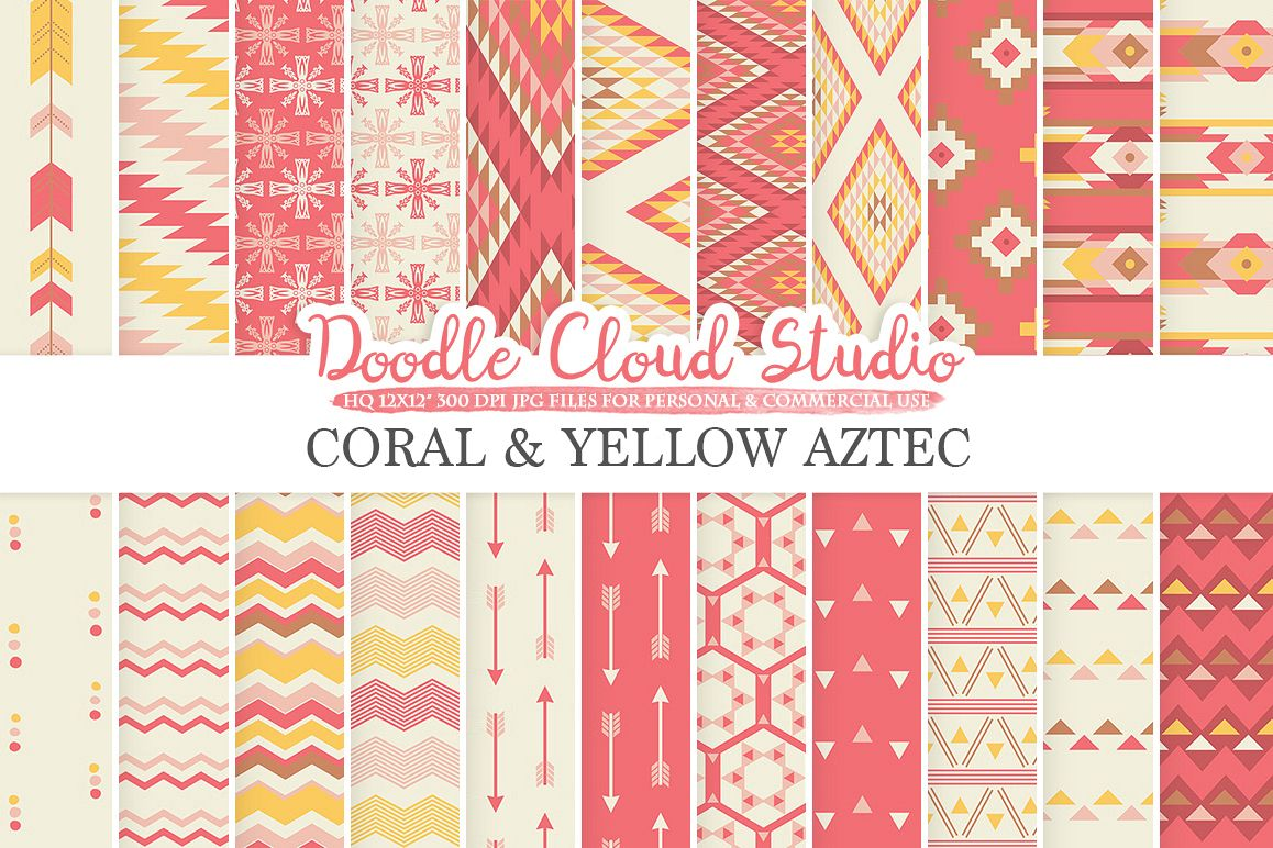 Coral and Yellow Aztec digital paper Pink Tribal patterns native triangles geometric ethnic arrows background for Personal & Commercial Use example image 1