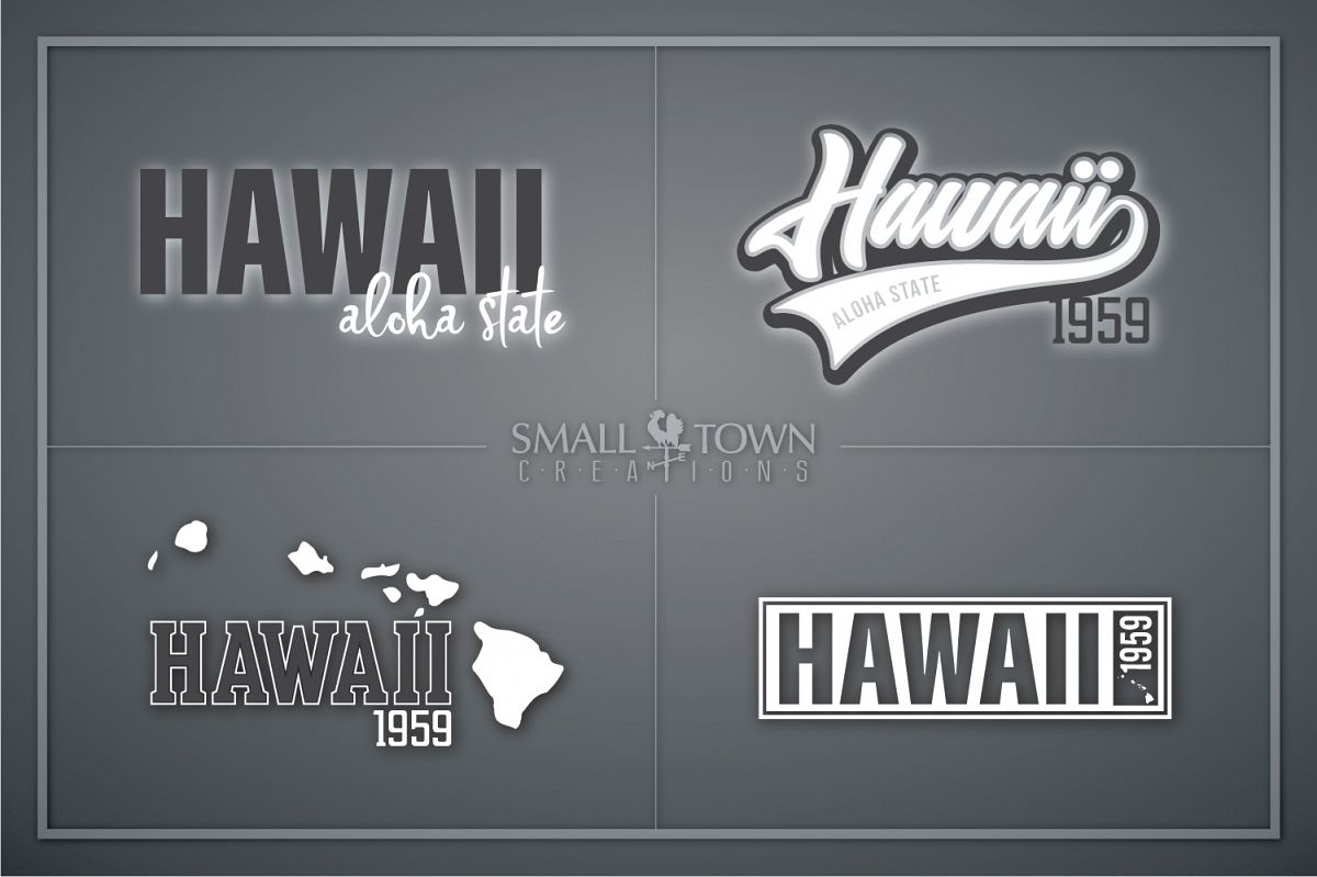 Hawaii, Aloha State - slogan, Logo, PRINT, CUT & DESIGN example image 1