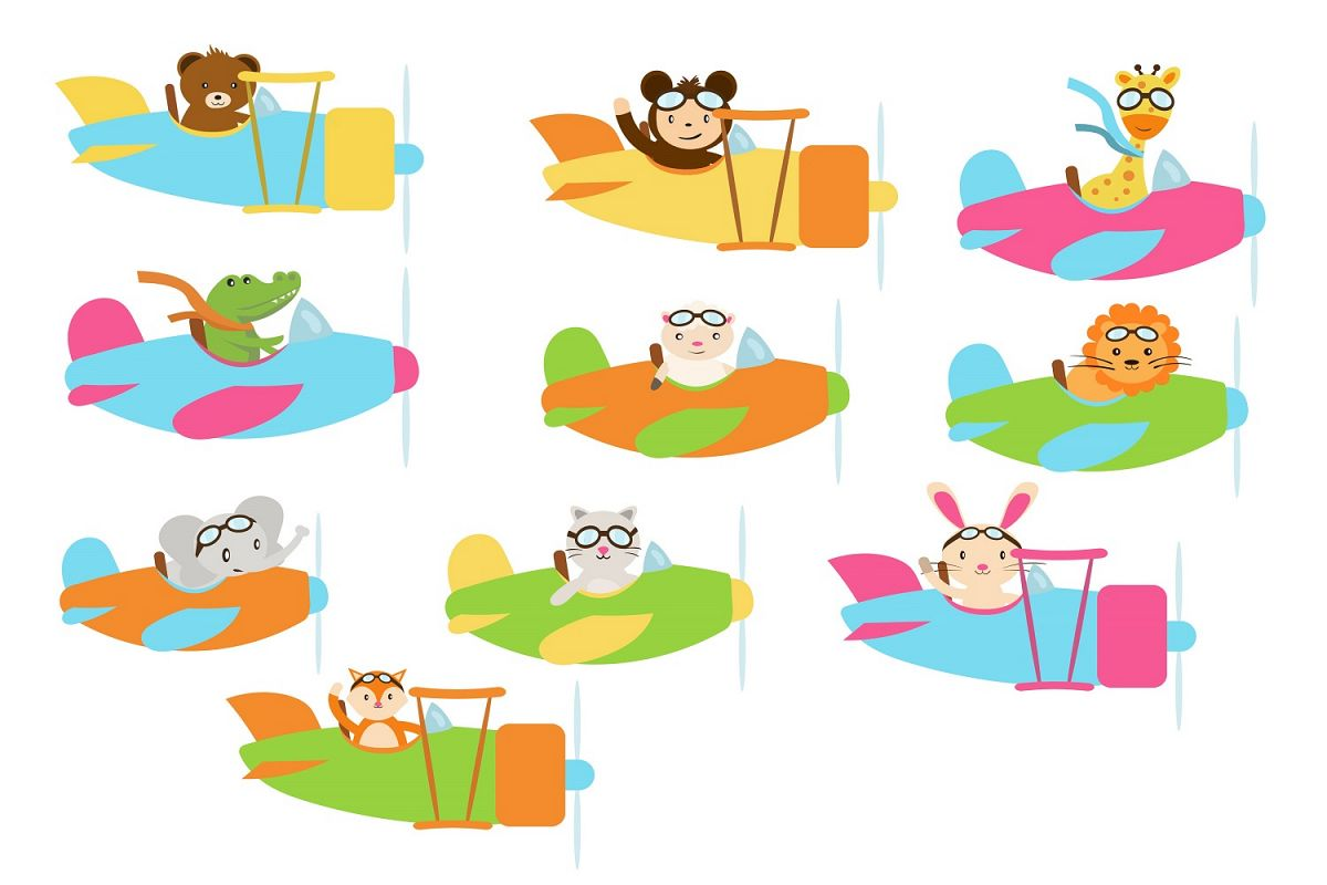 Cute Pilot Animals illustration Vector Pack example image 1