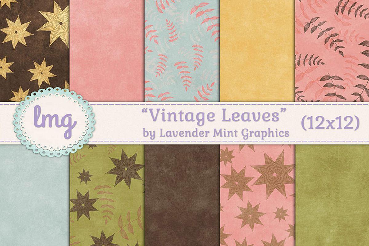 Vintage Leaves Digital Paper example image 1