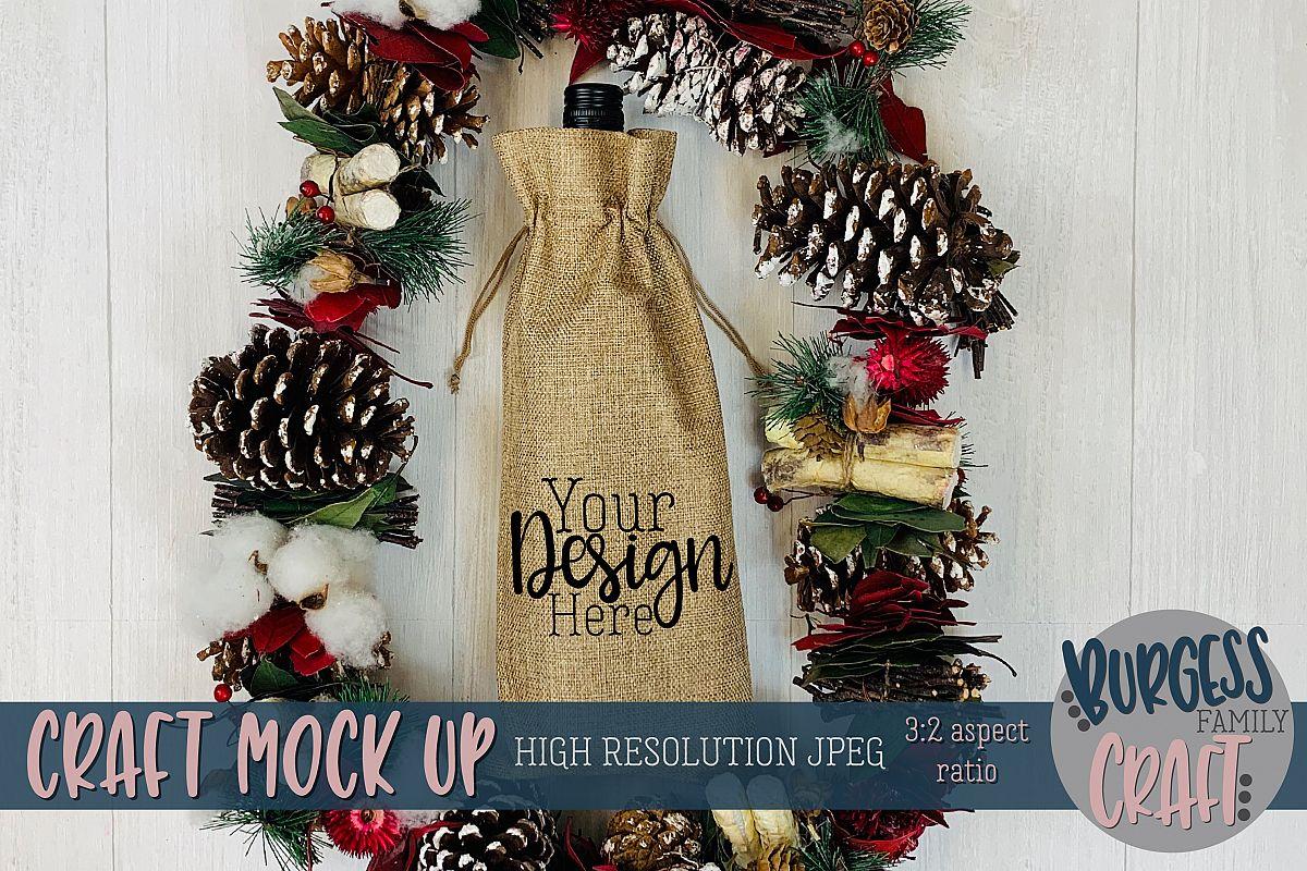 Christmas wine bag garland Craft mock up  High Res JPEG example image 1