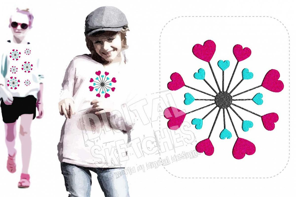 Heart Flower Dandelion Machine Embroidery Design 3 Sizes example image 1