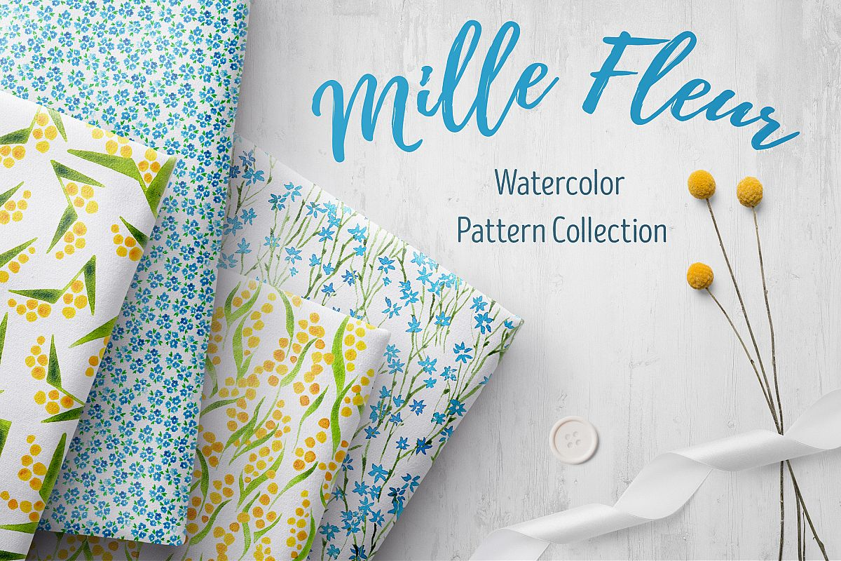 Mille Fleur - 36 watercolor patterns example image 1