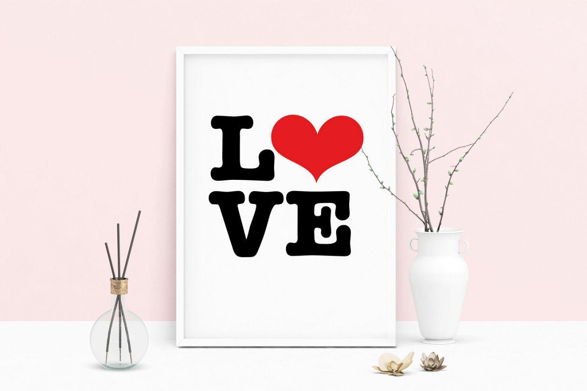 printable art saying love heart wall art pdf typography