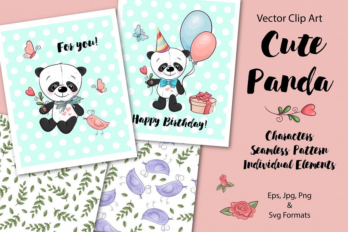 Cute Panda - vector clip art example image 1