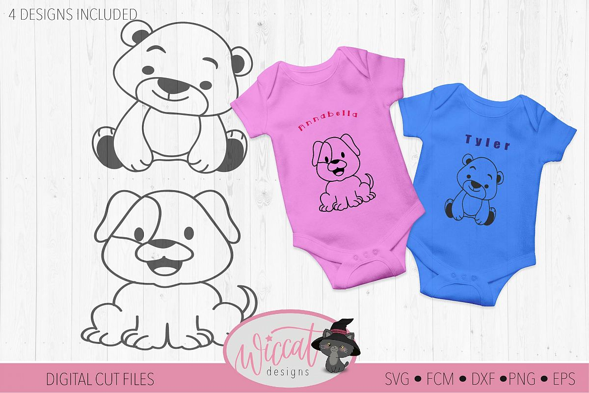Cute Coloring animal cut files, collection baby animals example image 1