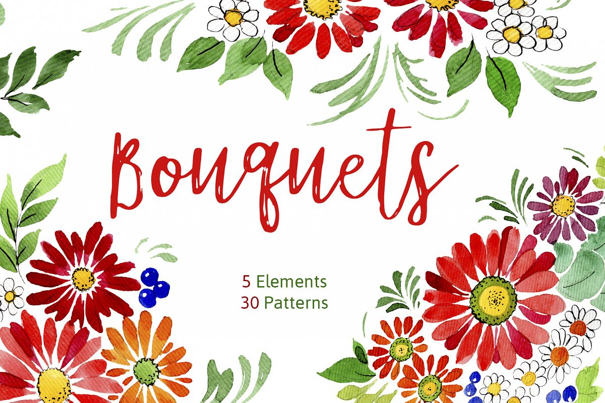 Bouquet of flowers Frederick red watercolor PNG example image 1