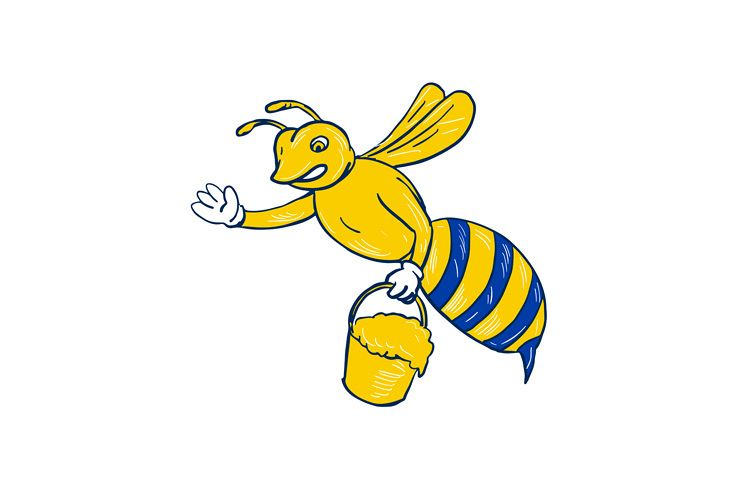 Bumblebee Waving With Honey Drawing example image 1