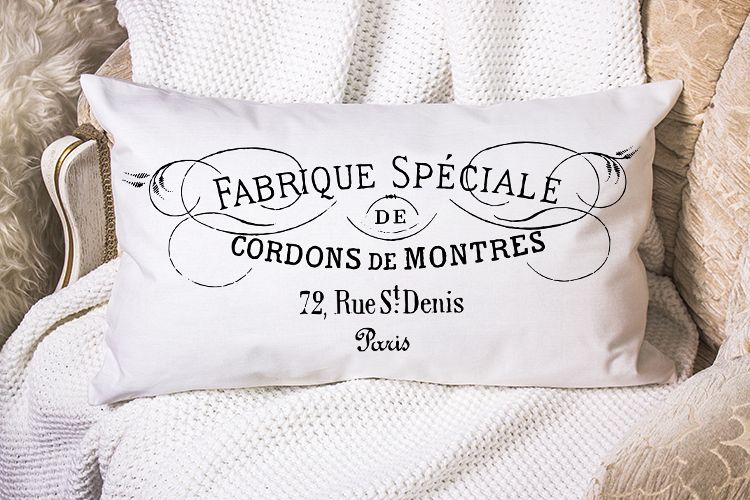 Antique French Paris printable furniture pillow sublimation example image 1