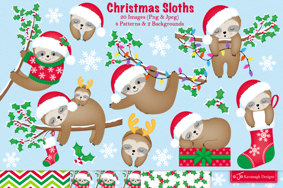 Christmas Sloth.Christmas Sloth Clipart Sloth Graphics Illustration C38