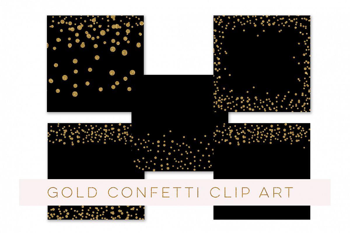 Confetti Clipart, Confetti Clip Art, Confetti Overlay, Black Gold Confetti Borders, Glitter Gold Confetti Graphics, Glitter Digital Confetti, commercial use example image 1