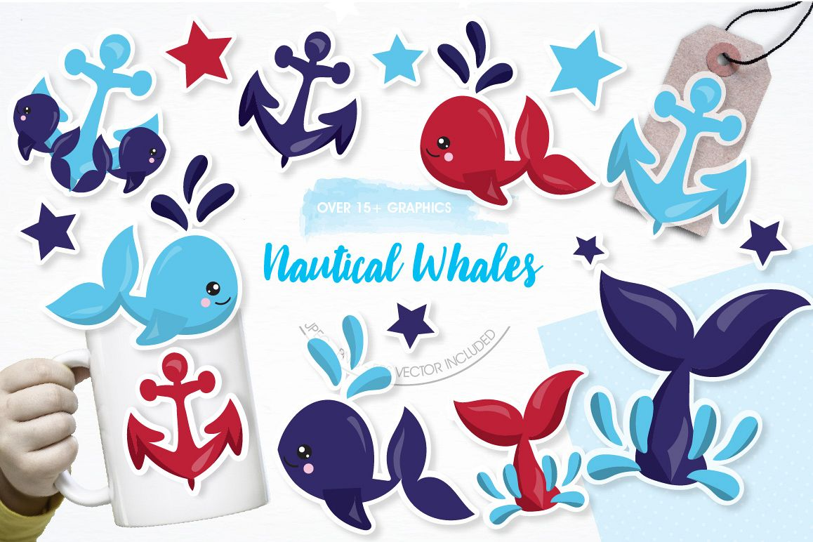 Nautical Whales graphics and illustrations example image 1