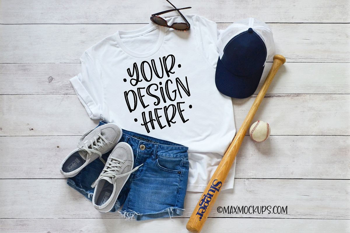 White t-shirt Mockup Bella, baseball hat ball bat flatlay example image 1