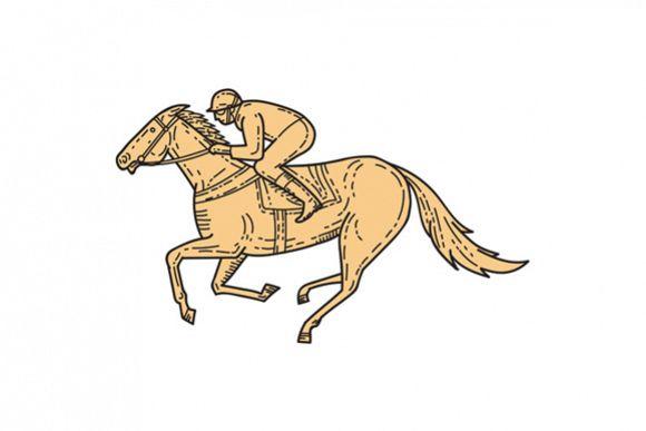 Jockey Horse Racing Side Mono Line example image 1