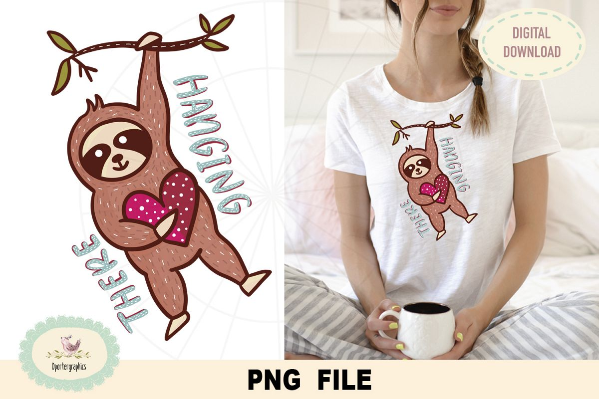 Hanging there sloth, PNG file, sublimation, DTG print design example image 1