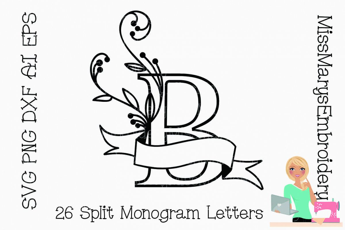 Split Monogram Letters SVG Cutting File PNG DXF AI EPS example image 1