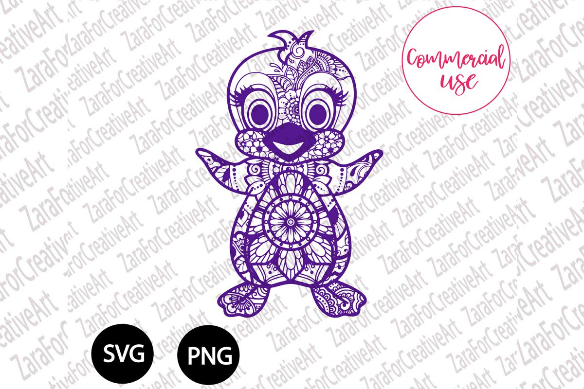 Penguin mandala Zentangle svg example image 1