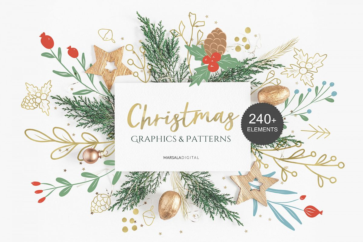 Christmas Illustration Graphics & Seamless Patterns example image 1