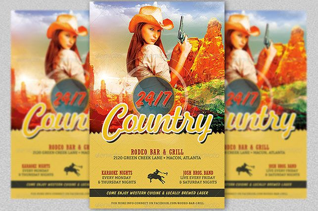 Country Bar Grill Flyer Template example image 1