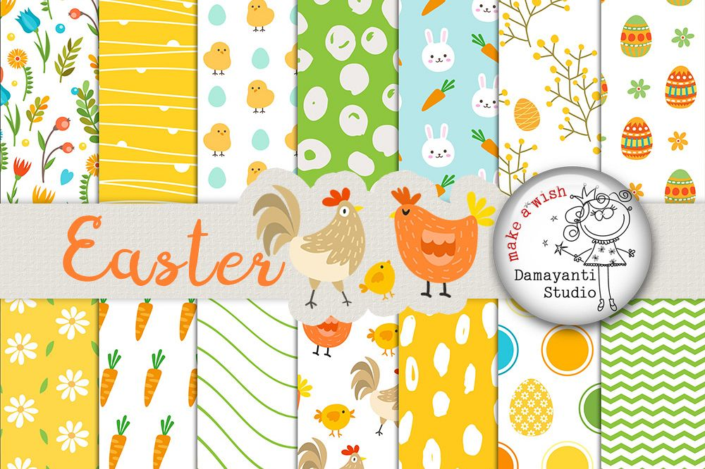 Easter Digital Paper Pack Easter Paper Pack Easter Bunny Paper