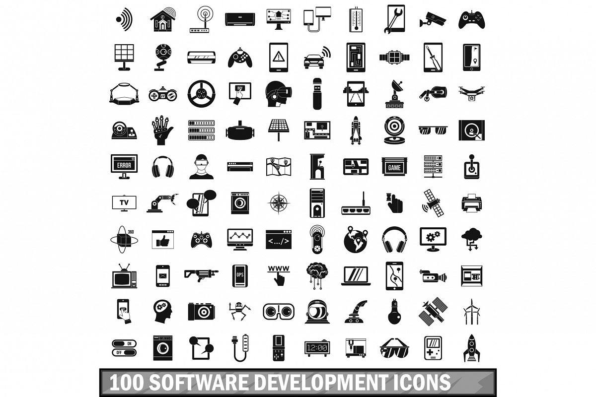 100 software development icons set, simple style example image 1