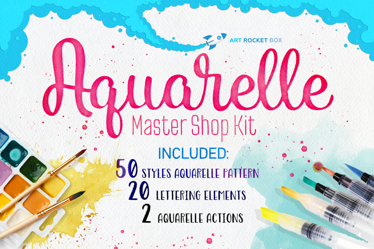 Aquarelle Master Shop Photoshop Action Kit example image 1