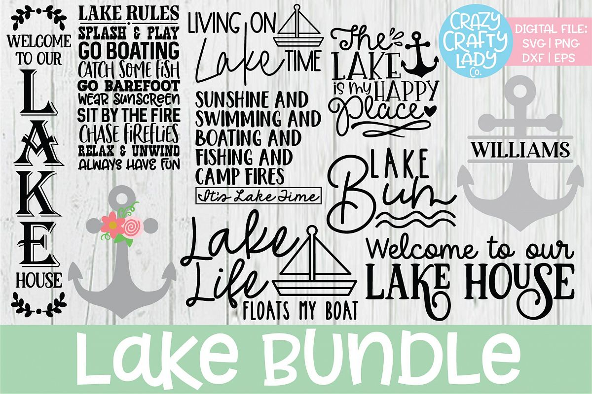 Lake SVG DXF EPS PNG Cut File Bundle example image 1