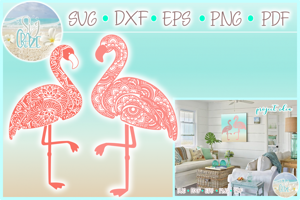 Flamingo Mandala Zentangle Svg Dxf Eps Png Pdf Files example image 1
