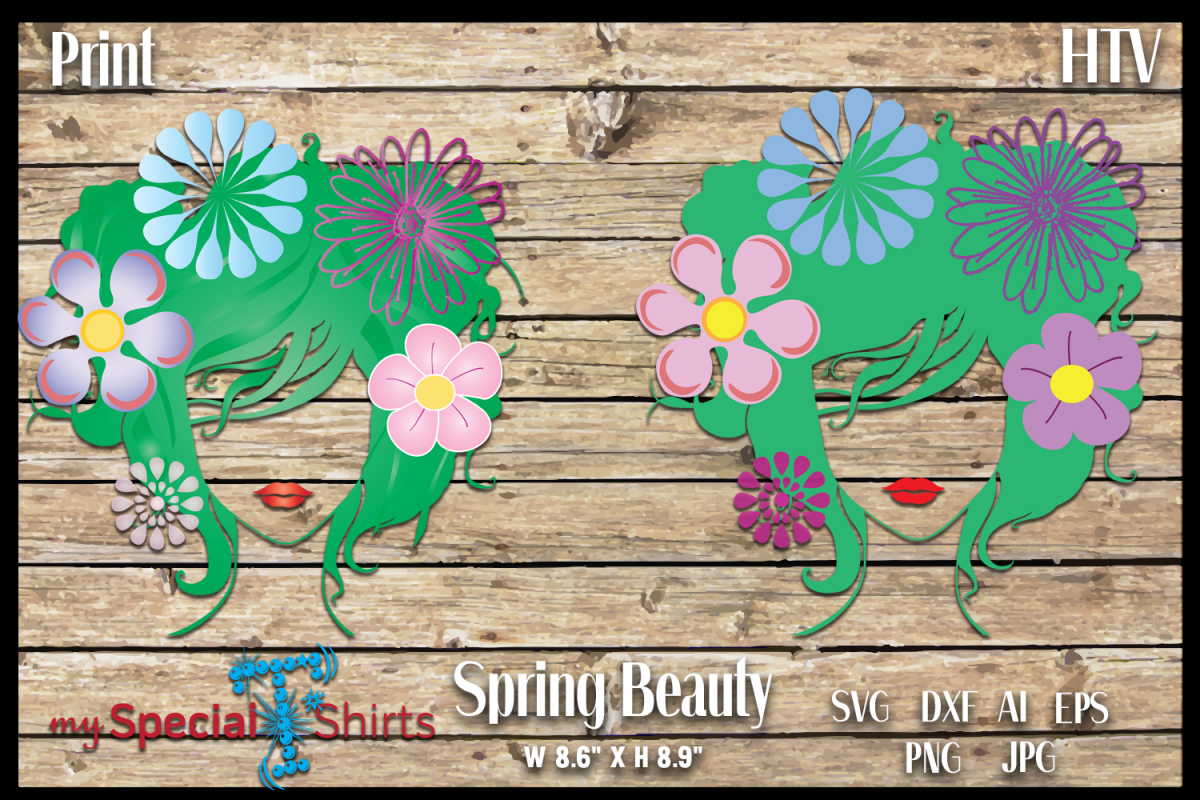 Spring Beauty HTV cut file and Print File SVG, DFX, EPS, JPG, PNG example image 1