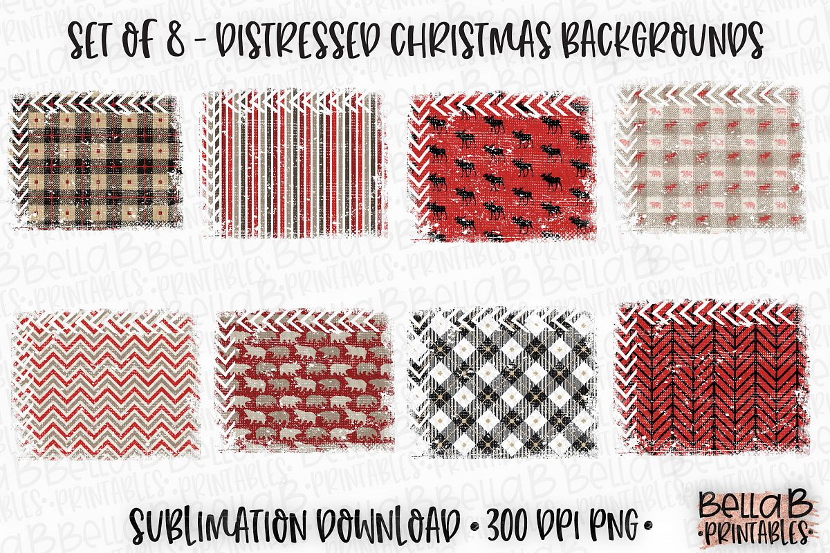 Christmas Sublimation Background Bundle, Christmas Frames example image 1