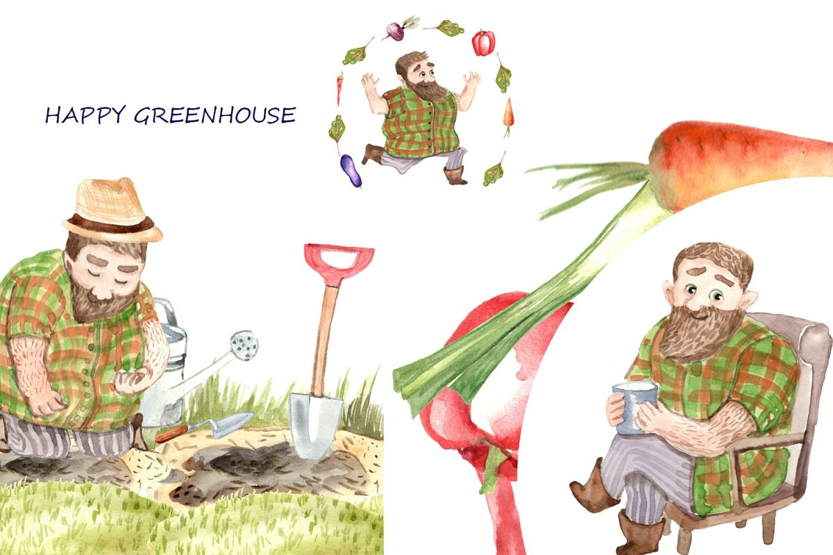 HAPPY GREENHOUSE watercolor character example image 1